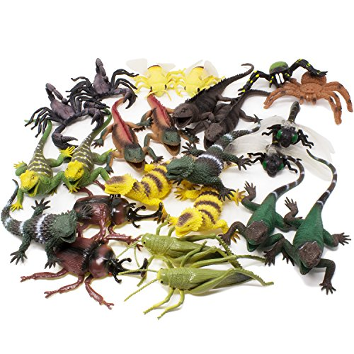 Boley Jumbo 24 Piece Lizards and Bugs Action Figure Playset - Educational Lizard and Insect Toy - Perfect Party Pack and Gag (Giant Bug)