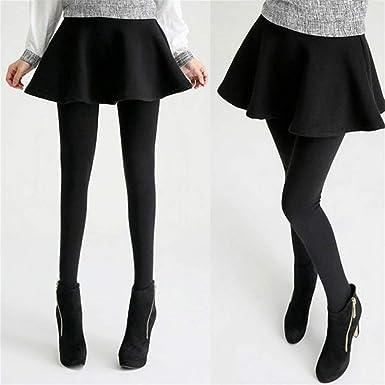 09c37afb0 Winter Women Plus Thick Warm Pleated Skirt Leggings Slim Elastic ...