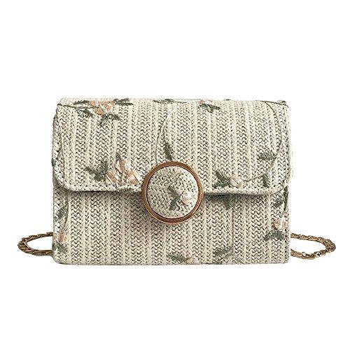 Hasp Print Bags Flap Straw Widewing Women Shoulder Messenger Elegant Bag Chain Ivory Mini 8WOYq