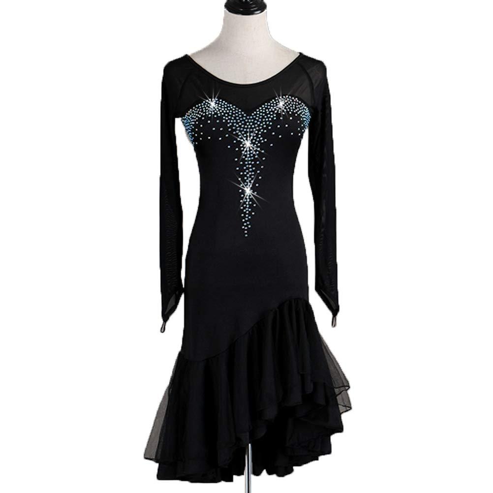 noir-L  AISHUAIGE Robes de Danse Latine à Manches Longues Manche Longue Col Rond Collant Costume De Perforhommece Tango Samba Danse Salsa pour Femmes avec Strass Robe de Fête