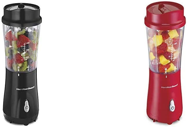 Hamilton Beach Personal Blender with 14oz Travel Cup and Lid, Black (51101AV) & Hamilton Beach Personal Blender for Shakes and Smoothies with 14oz Travel Cup and Lid, Red (51101RV)