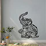 "BATTOO Elephant Wall Decal Stickers Floral Patterns Yoga Decals Indie Wall Art Boho Bedding Nursery Bedroom Dorm Design Interior(teal, 22""h x17.5""w)"
