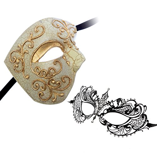 Phantom of Opera Design Venetian Masquerade Party Mask Gold Series Couple Mask Sets (Gold2) by L.M.K