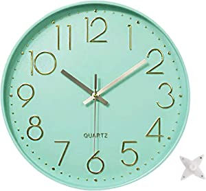 Ytaons 12 in Wall Clock Non-Ticking Quartz Silent Battery Operated Round Clocks Home Kitchen Office School Living Room Decor Clocks (Mint Green)
