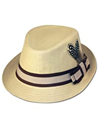 Sakkas Unisex Structured 100% Paper Straw Matching Feather Band Fedora Hat