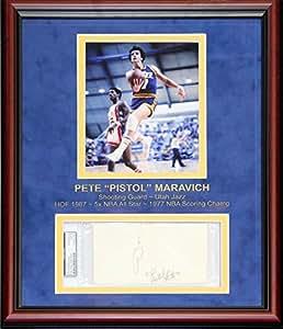 Pete Maravich Autographed Framed Postcard (PSA)