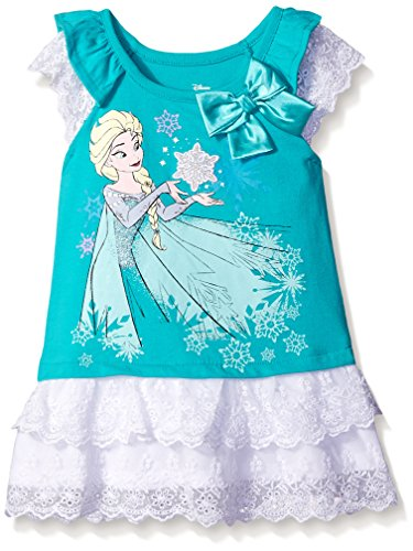 Disney Girls' Elsa Frozen Jersey Tunic with Lace Ruffles