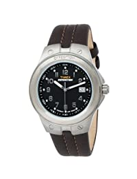 Timex T49631 Men's Expedition Metal Tech Black Dial Brown Leather Strap Stainless Steel Watch