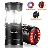 LED Camping Lantern - Snorda 2 Pack Camping Lantern, Portable LED Lantern SOS LED Flashlight with 4 Modes - Camping Equipment, Real Survival Kit for Emergency, Outage, Daily Use Flashlight (Black)