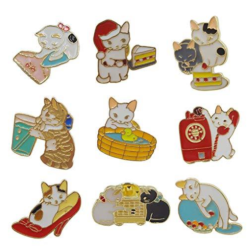 9 Pcs Cute Cat Pin Cat Family Brooch Enamel Brooches Badge Cat Pin Label Pin