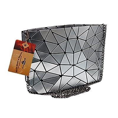 ZLMBAGUS Fashion Hologram Laser Envelope Clutch Geometric Pattern Metal Chain Shoulder Crossbody Bag