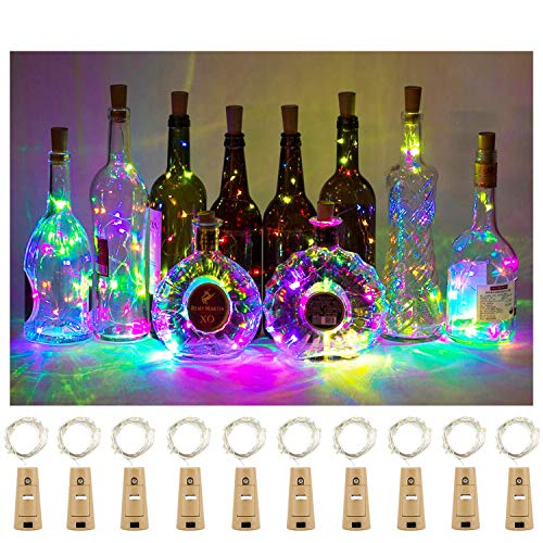 Aluan Wine Bottle Lights with Cork 12LED 10 Pack Bottle Lights Waterproof Battery Powered Cork Lights for Wine Bottles Jar Party Wedding Christmas Festival Bar Decoration 10 Pack, Colorful Light