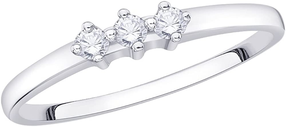 Size-4.25 1//10 cttw, G-H,I2-I3 3 Diamond Promise Ring in 14K White Gold