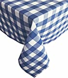 Buffalo Check Indoor/Outdoor Cotton Tablecloth - Cottage Style Gingham Check Pattern Tablecloth - 52 x 52 Square, Blue