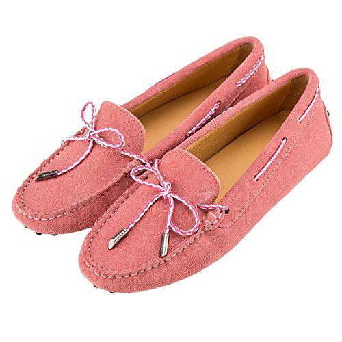 Casual Sommer Leder Pink Shenduo Damen D7051 Schuhe Mokassins Slippers mit Binden UqptUwXx