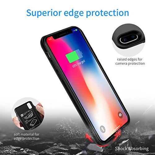 iPhone X Battery Case,[6000mAh] iphonex Portable Charger,Portable Rechargeable Protective Charging Case Slim for Apple iPhone 10,Support Lightning Earphone and Sync-though(Black) by Ainope (Image #5)