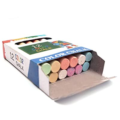 CGKUITER Dustless Colorful Sidewalk Chalk for Children Outdoor Side Walk Outside Driveway Colours Art Floor Chalks Nontoxic, Washable Tapered Chalks for Teachers and Schools (5 Pack/60PCS): Toys & Games