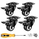 2 inch Casters Set of 4 with Brake, Mute and Floor Protection, Noise-Free Swivel Caster Wheels for Furniture and Workbench, Load Capacity-600lbs(Free Screws and a Screwdriver)