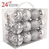 Daonanba Christmas Shatterproof Balls Holiday Hanging Ornament Traditional Xmas Home Decoration (Silver)