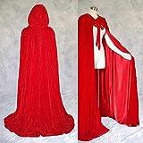 Artemisia Designs Renaissance Medieval Lined Velvet Cloak Red One Size
