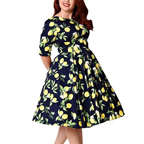 moonsix Women's Plus Size Vintage Floral 3/4 Sleeve Casual Swing Dress, Blue(Lemon), 5XL(US 18) ()