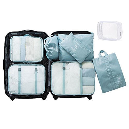 8 Set Packing Cubes - WantGor 6 Travel Organizer Luggage Compression Pouches + 1 Shoes Bag+ 1 Clear Toiletry Bag (Sky Blue)