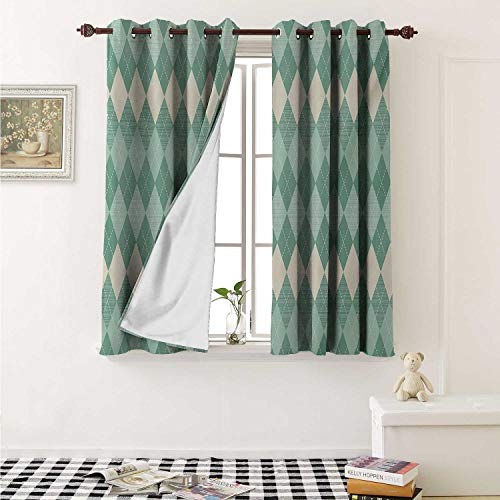 - Aqua Blackout Draperies for Bedroom Rectangular Triangle Shapes Abstract Design Sketchy Lines Curtains Kitchen Valance W72 x L63 Inch White Seafoam Pale Blue and Turquoise