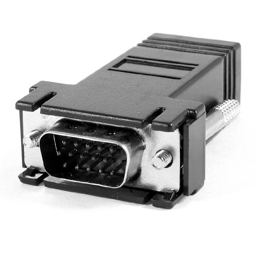 Black Computer VGA 15 Pin Male to RJ45 Female m/f Jack Adapter Connector
