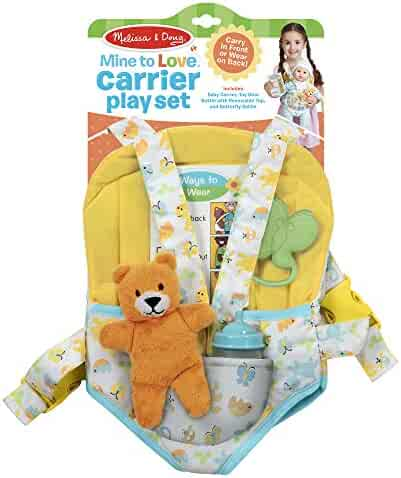Melissa & Doug Mine to Love Carrier Play Set for Baby Dolls (Toy Bear, Bottle, Rattle, Activity Card)