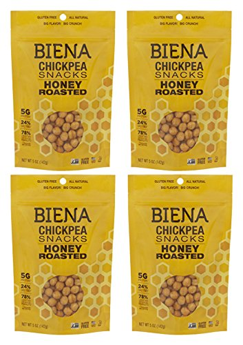 BIENA Non-GMO Roasted Chickpea Snacks, Honey Roasted, 5 Ounce (Pack of 4)