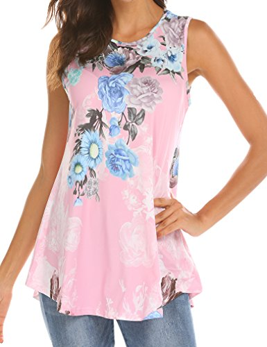 Tobrief Women Sleeveless Floral Print Swing Tunic Tank Tops (Pink, L)