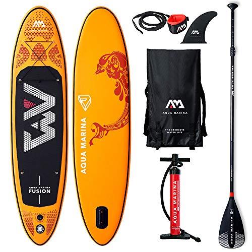 Aqua Marina Fusion-All-Around iSUP, 3.15m/15cm, with Paddle and Safety Leash, Orange: Amazon.es: Jardín
