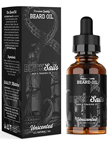 Premium Beard Oil Conditioner – All-Natural Organic Argan, Jojoba & Castor Oil for Stronger, Healthier Facial Hair Grooming – Daily Shine for Growing Beards Treatment, 1 oz by BLVCK Sails (Unscented)