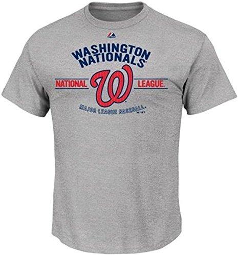 Majestic Athletic Washington Nationals MLB Men's Gray Added Value Tee Shirt Big And Tall Sizes (2XT)