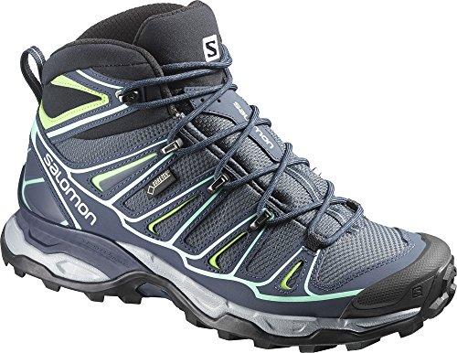 Salomon Mujeres X Ultra Mid 2 Gtx Zapatos Para Caminar Y Colapsar Waterbottle Bundle Denim Gris / Deep Blue / Lucite Green