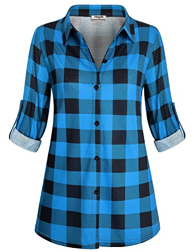 Hibelle Work Shirts For Women Office, Juniors Check Button Front Tops Fashion V Neck Tunic Dressy Long Sleeve Jersey Baggy Clothes Buffalo Retro Geometric Print Blouses Dark Blue Plaid - Check Blouse Print
