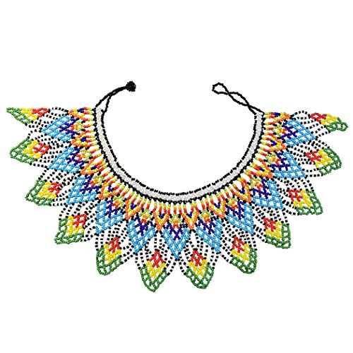 Idealway African Zulu Beaded Necklace Tribal Choker Colorful Acrylic Indian Ethnic Bib Collar (Colorful 7192C)