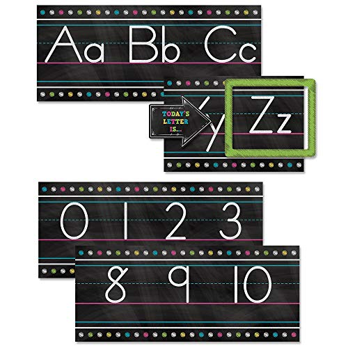 Teacher Created Resources TCR5621 Chalkboard Brights Alphabet Line Bulletin Board Set ()