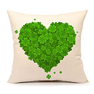 Autumn Leaves Fall Green Home Decor Throw Pillow Case Cushion Cover 18 x 18 Inch Cotton Linen(St. Patrick's Day,Heart of the Lucky Clove)