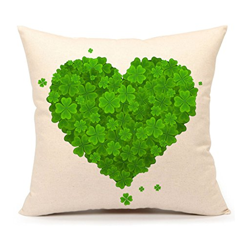 St. Patricks Day Green Home Decor Throw Pillow Case Cushion Cover 18 x 18 Inch Cotton Linen(Saint Patricks Heart of the Lucky Clove)