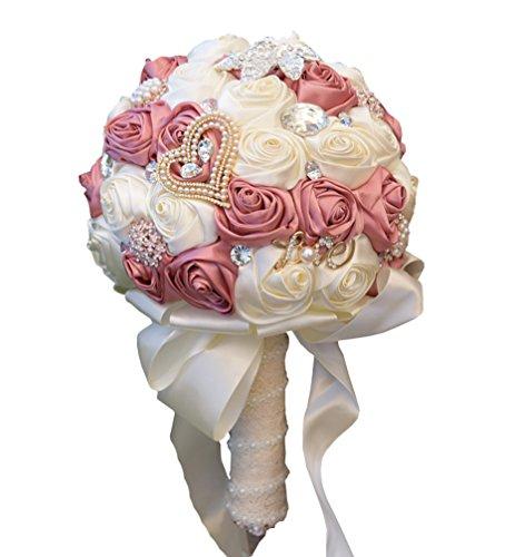 JACKCSALE Wedding Bride Bridal Bouquet Brooch Bouquet Bridesmaid Valentine's Day Bouquet Confession (373 Ivory+Pink)