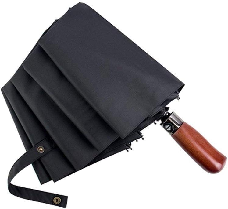 YSLJH Travel Umbrella Light Folding Mens Work Umbrella Ladies Sunscreen Windproof Automatic Umbrella Wooden Handle Portable Black