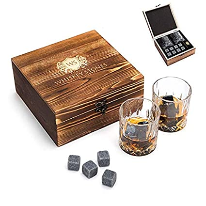 Premium Birthday Gift or Treat for Yourself Reusable Chilling Rocks Cooling Drinks Without Dilution Luxury Whiskey Stones With Whiskey Glasses and Pouch Gift Set