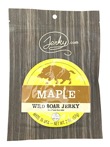 Jerky.coms Maple Wild Boar Jerky - The Best Wild Game Hog Jerky on the Market - 100% Whole Muscle Boar - No Added Preservatives, No Added Nitrates and No Added MSG - 2 oz.
