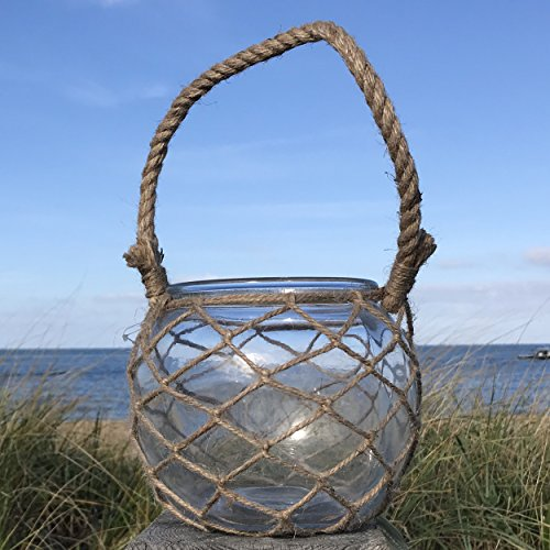 The Mariners Lobster Pot Netted Hurricane Candle Lantern, Globe Shape, Clear, Jute, Rope Handles, Glass, 6 Inches Diameter, 5 Inches Tall, By Whole House Worlds (Nautical Wedding Centerpiece)