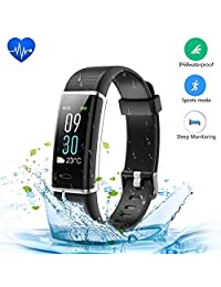 Fitness Tracker, JoyGeek Color Screen Smart Watch Heart Rate Monitor IP68 Waterproof Smart Barecelet GPS Sport Sleep Tracker Calorie Counter and Call/SMS Reminder for iPhone X/8 plus/8/7 plus/7 Samsung S9/note 8/S8 Huawei (Blcak)