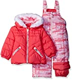 London Fog Baby Girls' Infant 2 Piece Heavyweight Snowsuit with Abstract Pant, Coral, 12M