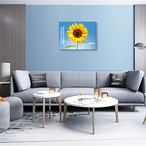 Sunflower Decor for Bedroom Wall Decoration 12x16inch with Frame Sunflowers Canvas Wall Art for Bathroom Decor Blue Sky Wall Picture for Living Room Yellow Flower Kitchen Decor