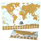 Scratch Off Map Of The World + United States Scratch Off Map - INCLUDES Points of Interest and 2017 USA Solar Eclipse Path - Premium Gift For The Travel Lovers