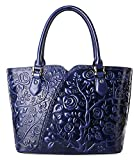 Pifuren Women Top Handle Satchel Handbags Floral Tote Purse (Y72328, Blue)
